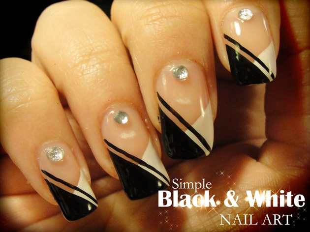 Most Wonderful White And Black Nail Art With Crystal