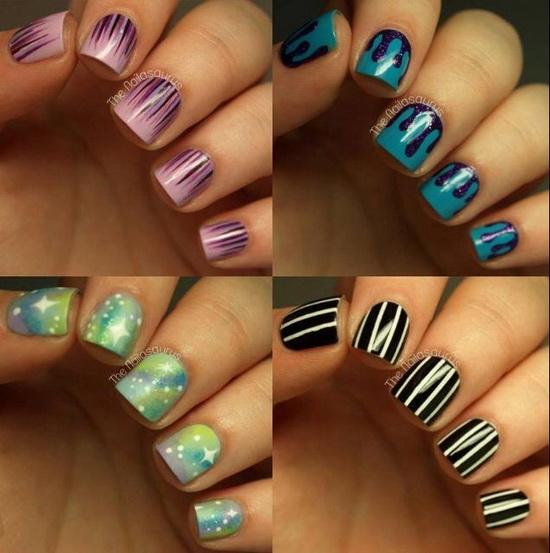 Most fabulous Different Color Design Acrylic Short Nail Design