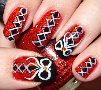 Most fabulous Red And Black Nails With Shoe Design