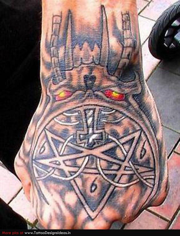 Motivational Evil Hand Tattoo Design For Boys