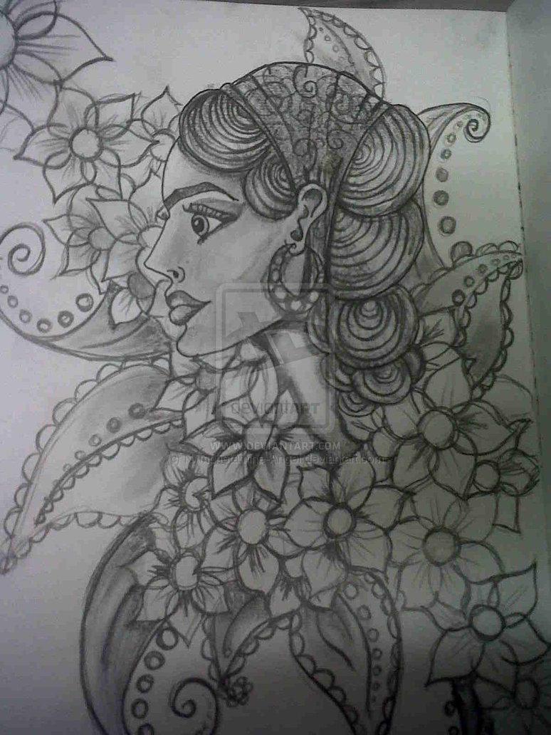 Motivational Gypsy Head Tattoo Sketch For Boys