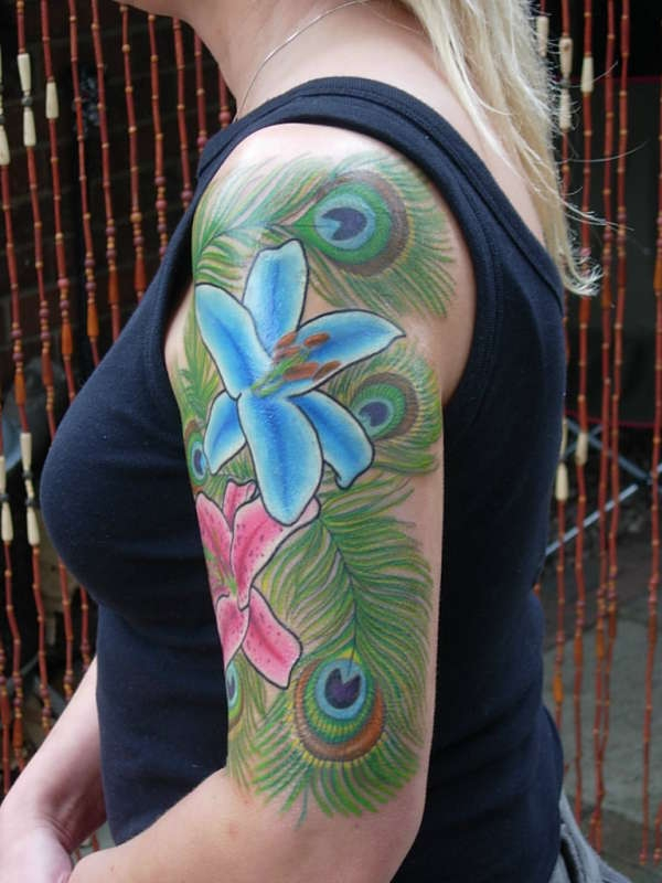 Motivational Half Sleeve Peacock Feathers Tattoo For Women