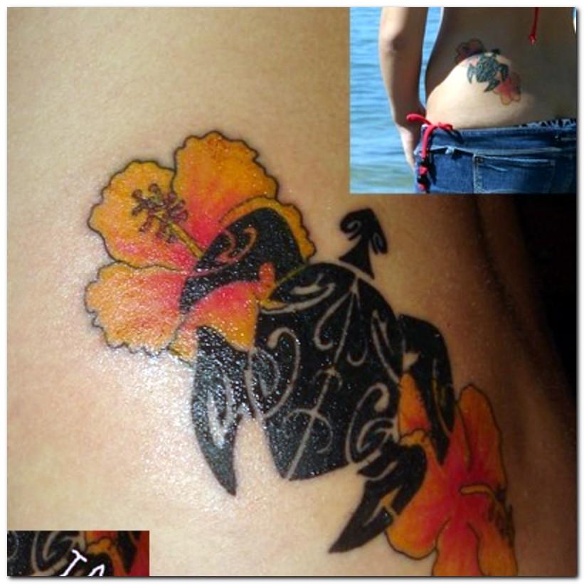 Motivational Hawaiian Flowers n Turtle Tattoo On Waist For Girls