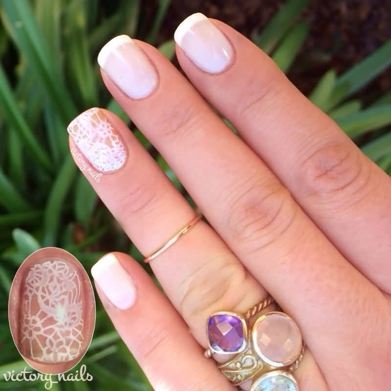 Natural Color With Snow Design Accent Nail Art