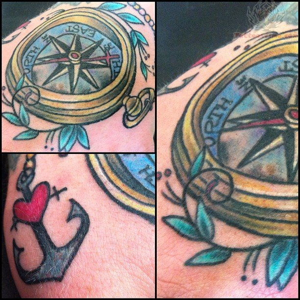 Nice Heart Anchor & Compass Tattoo For Boys