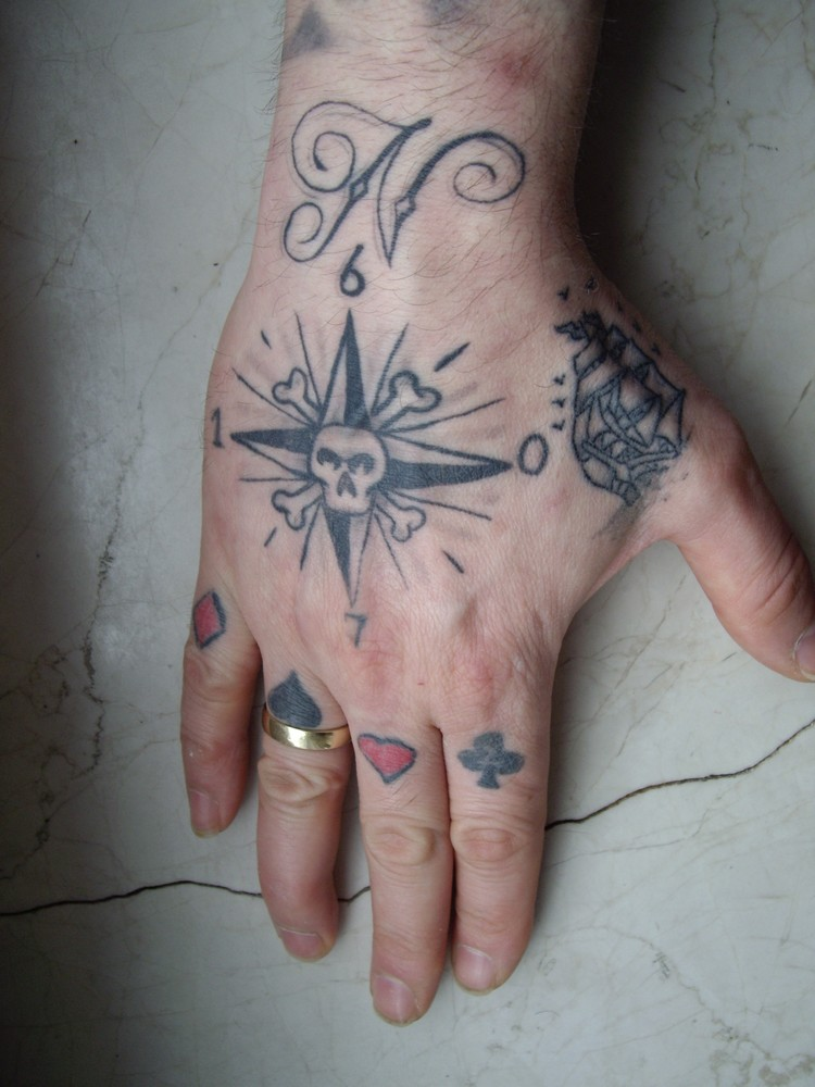 Nice Skull Compass Hand Tattoo For Boys