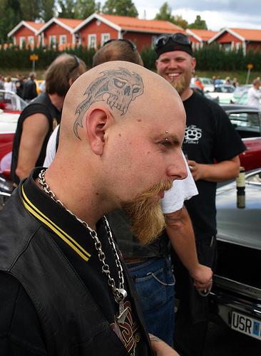 Nice Skull Tattoo On Head For Boys