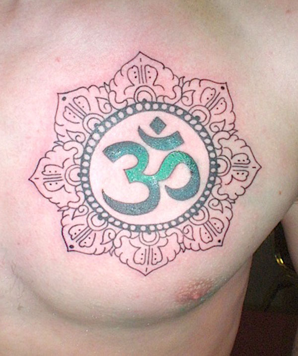 Out Standing Om Symbol Tattoo On Chest For Boys