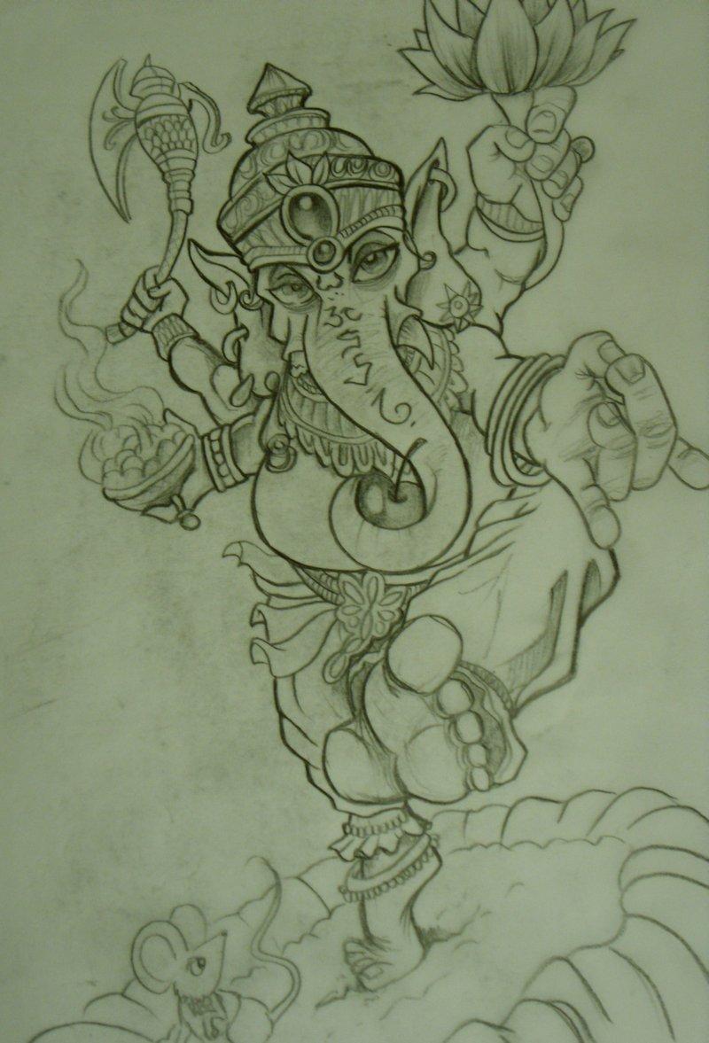 Passionate Ganesh Tattoo Sketch For Boys
