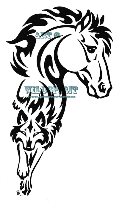Passionate Tribal Horse n Wolf Tattoo Design For Girls
