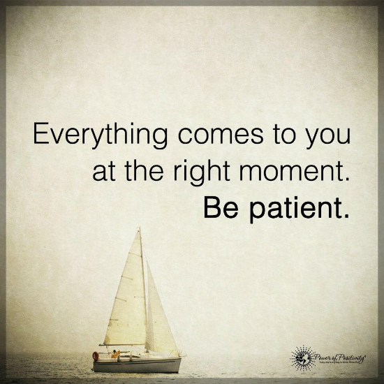 Patience Quotes everything comes to you at the right moment be patient
