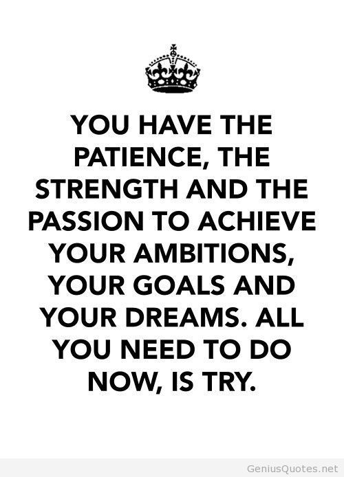 Patience Quotes you have the patience the strength and the passion to achieve your ambitions your goals and your dreams