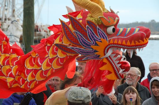 People Enjoy Red Dragon Wishes On Chinese New Year Image