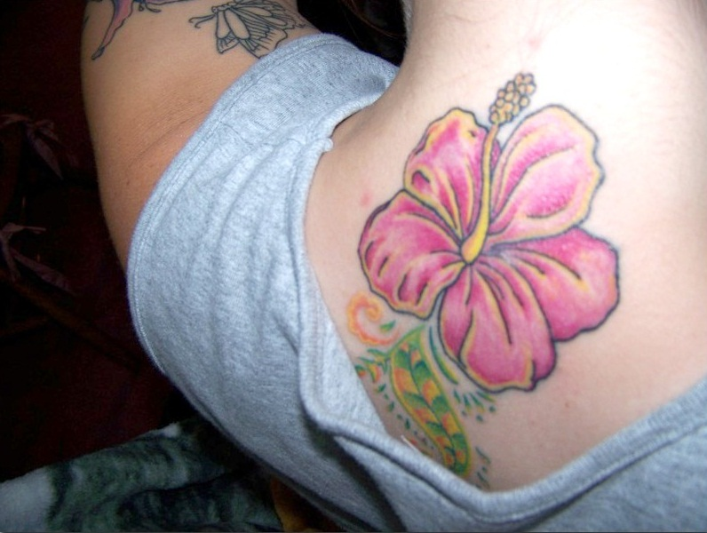 Perfect Hibiscus Flower Tattoo On Back For Girls