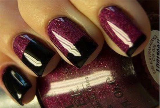 Phenomenal Black French Tip Nails With Dark Red Nail Paint
