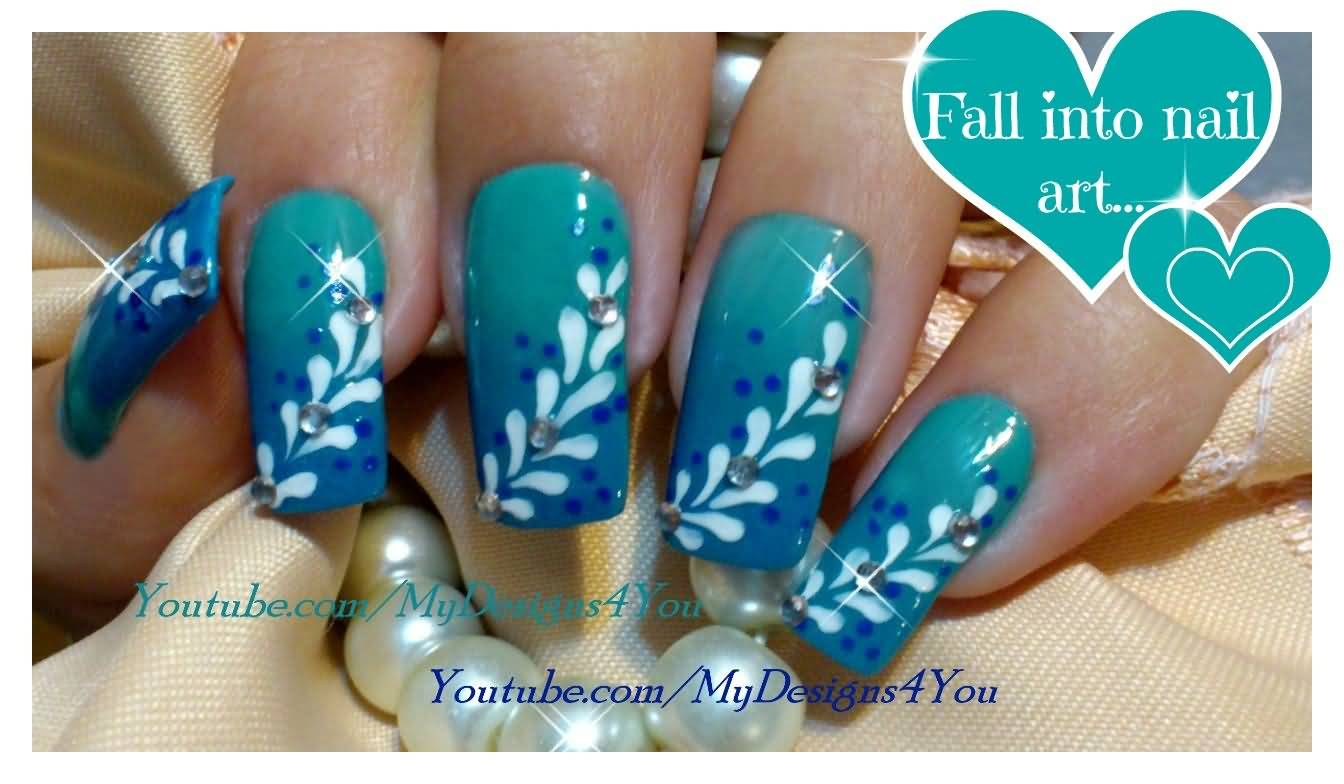 Phenomenal Blue Nails With Leaves Design