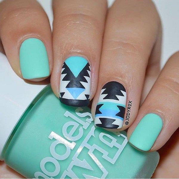Phenomenal Light Blue Nails With Black V Shape Design
