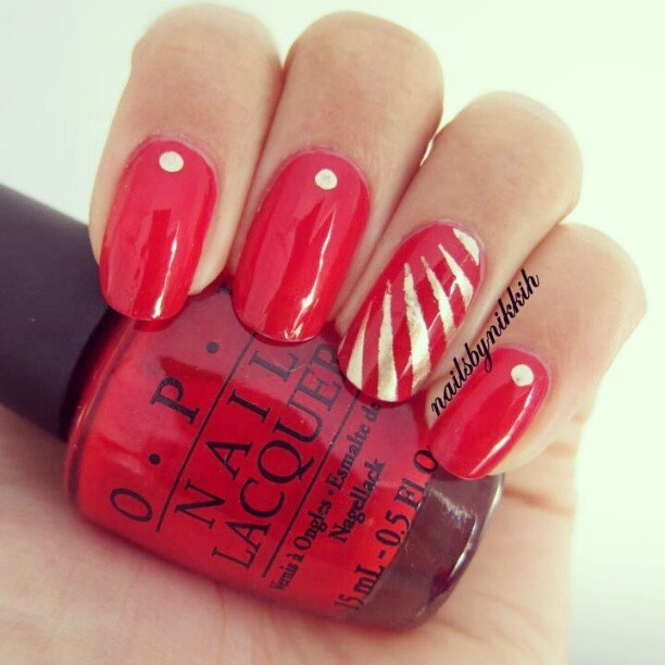 Phenomenal Red Color Paint With White Stripes Accent Nail Art