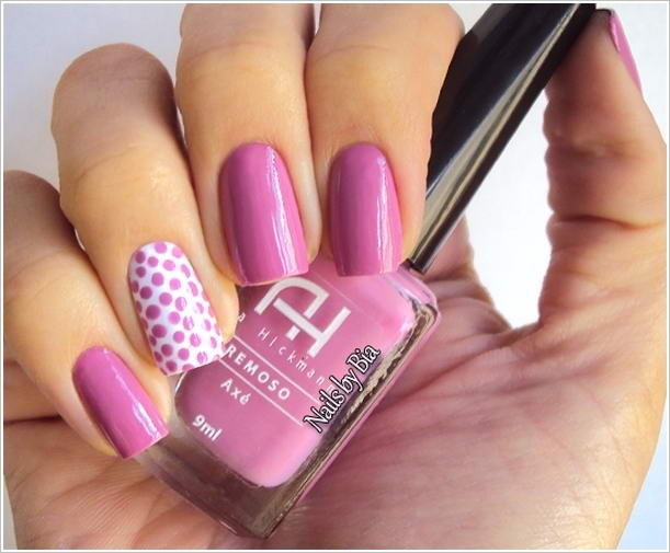 Pink Dotes With Pink Nail Paint Accent Nail Art