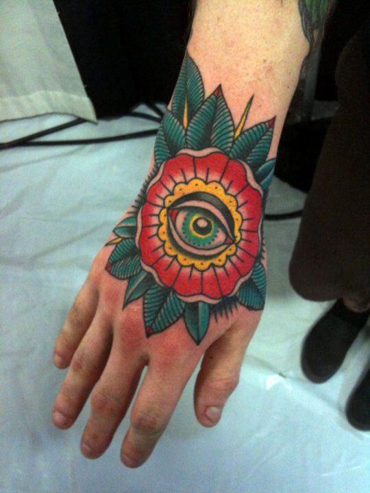 Popular Eye Flower Hand Tattoo Design For Boys