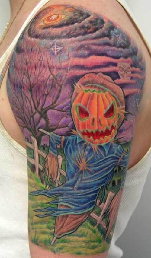 Popular Halloween Tattoo On Shoulder For Girls