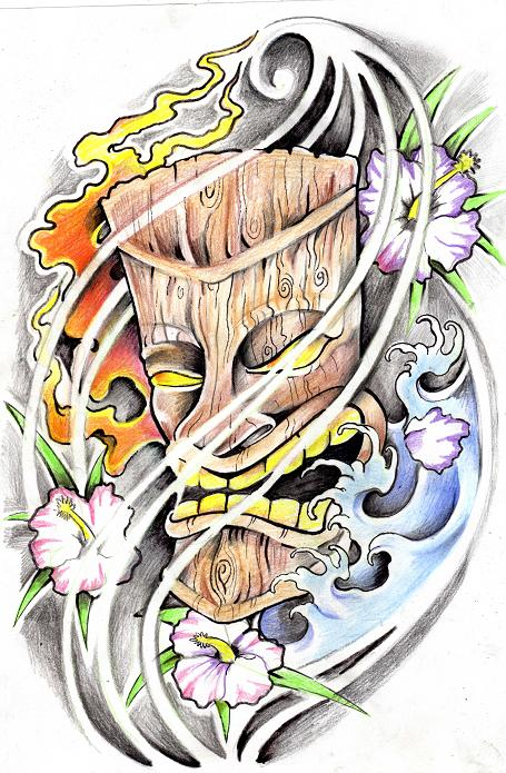 Realistic Tiki Mask Hawaiian Tattoo Design For Boys
