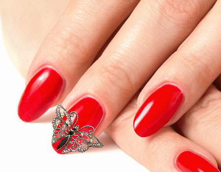 Red Back Ground With Silver Color Butterfly 3D Butterflies Nail Art