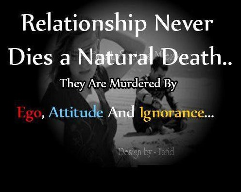 Relationship Quotes relationship never dies a natural death they are murdered by ego attitude and ignorance