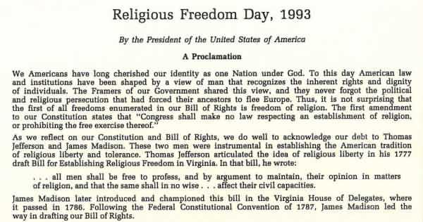 Religious Freedom Day 1993 National Freedom Day Image