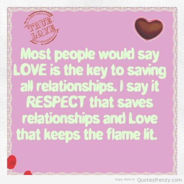 Respect Quotes most people would say love is the key to saving all relationship