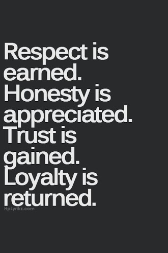Respect Quotes respect is earned honesty is appreciated trust is gained loyalty is returned