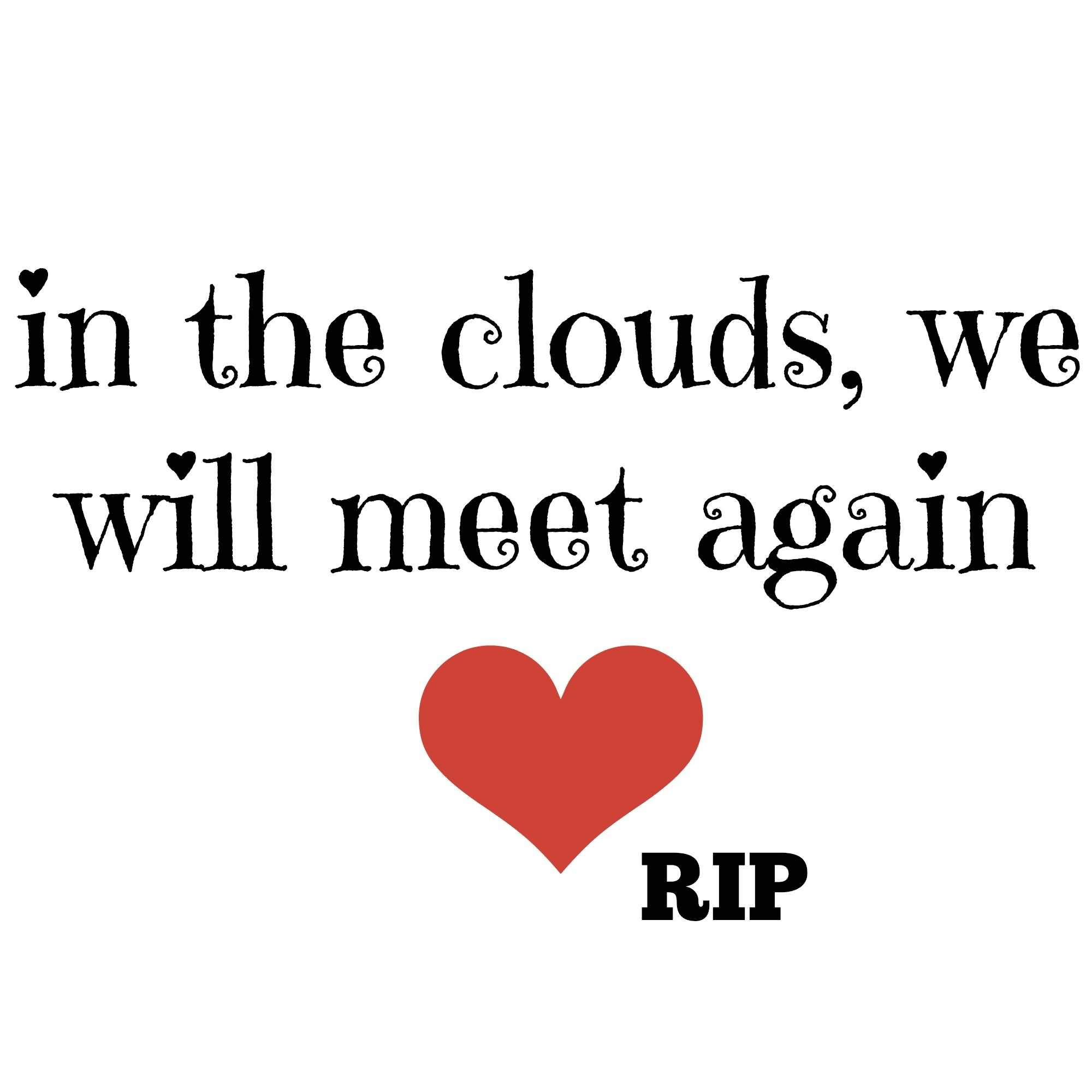 Rip Quotes In the clouds, we will meet again RIP
