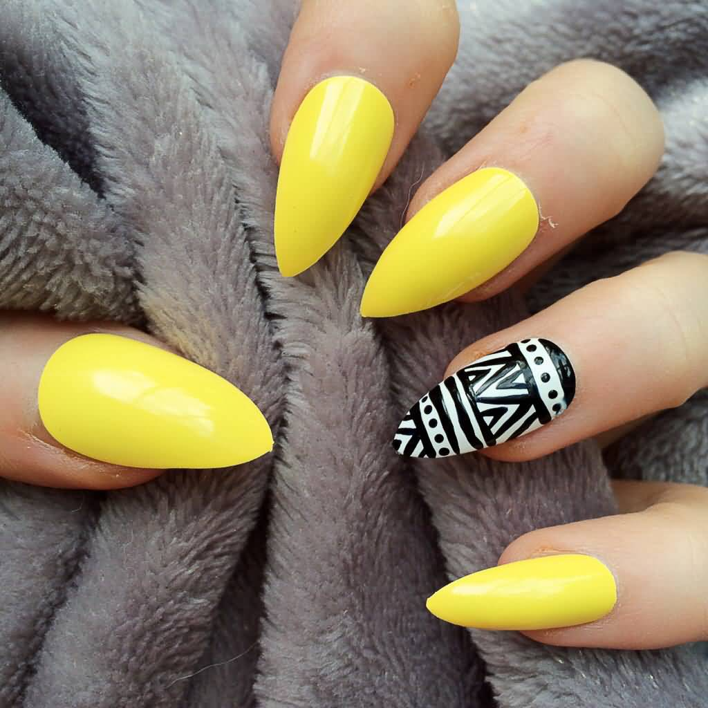 Sensational Yellow Blue Nails Color Design With Sharp Nails