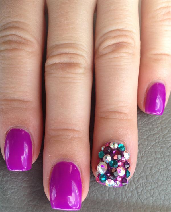Sexiest Purple Nail Paint With Rhinestone Glitter Accent Nail Art