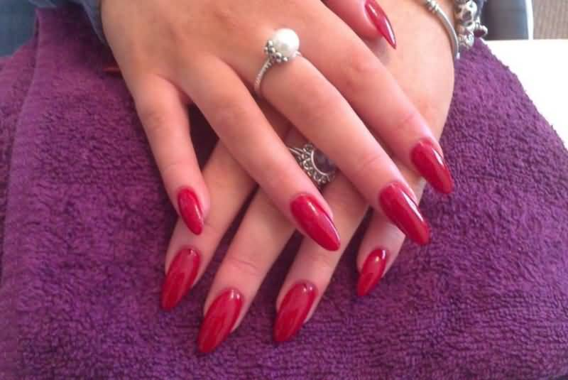 Sexiest red Color With Almond Shaped Acrylic Nail Art