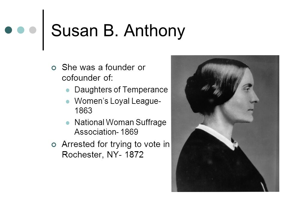 She Was A Founder Of Cofounder Of Daughters Of Temperance Susan B. Anthony