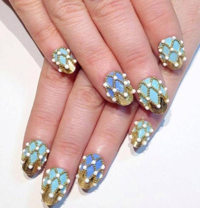 Simple 3D Beads With Golden And Blue Color 3D Nail Art