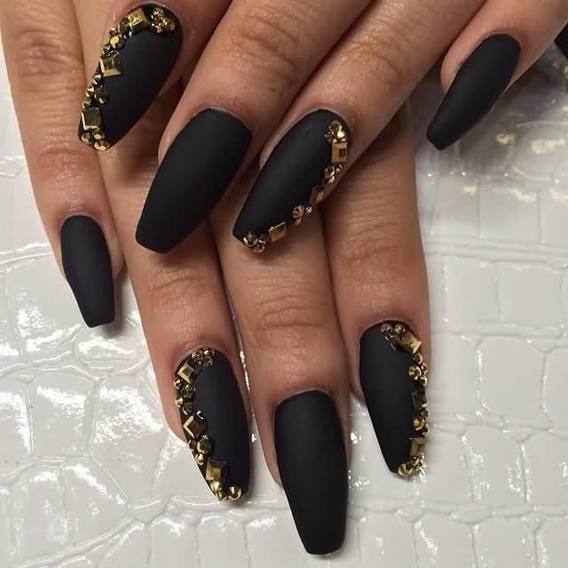 Simple Black Matte Nails With Golden Design