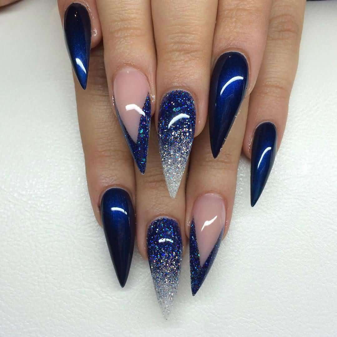 Simple Blue Nails With Sharp Nails