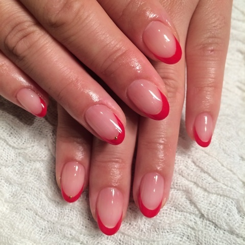 Simple Red Tip Acrylic Short Nail Design