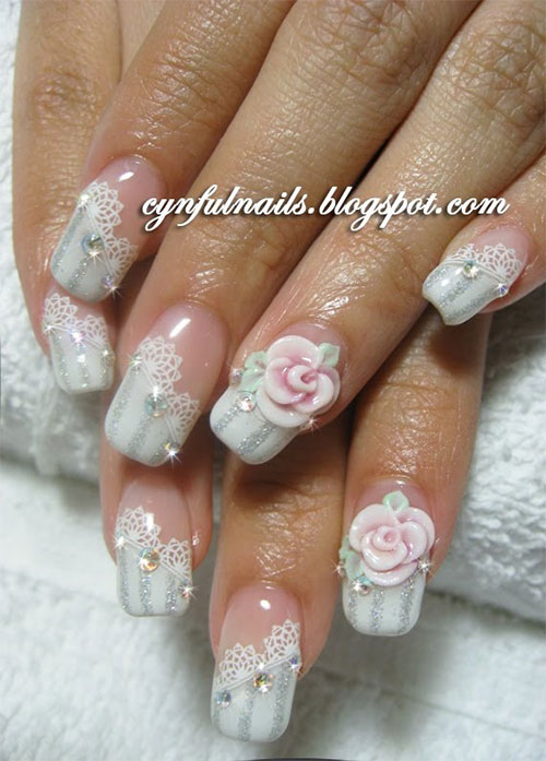 Simple White Flower 3D Acrylic Nail Art
