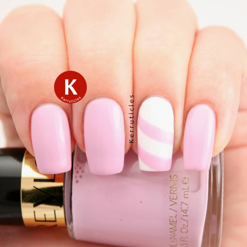 Small Baby Pink Design With Nail Paint Accent Nail Art