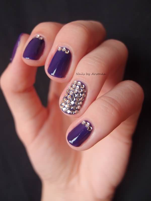 Small Rhinestones With Blue Violet Color Accent Nail Art