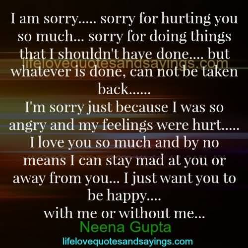 So Done Sayings I am sorry for hurting you so much sorry for doing things that i shouldn't have done