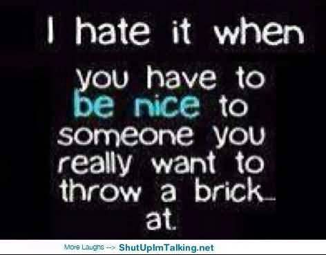 So Done Sayings I hate it when you have to be nice to someone