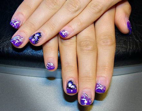 Sparkling Butterfly With Purple Color Acrylic Short Nail Design