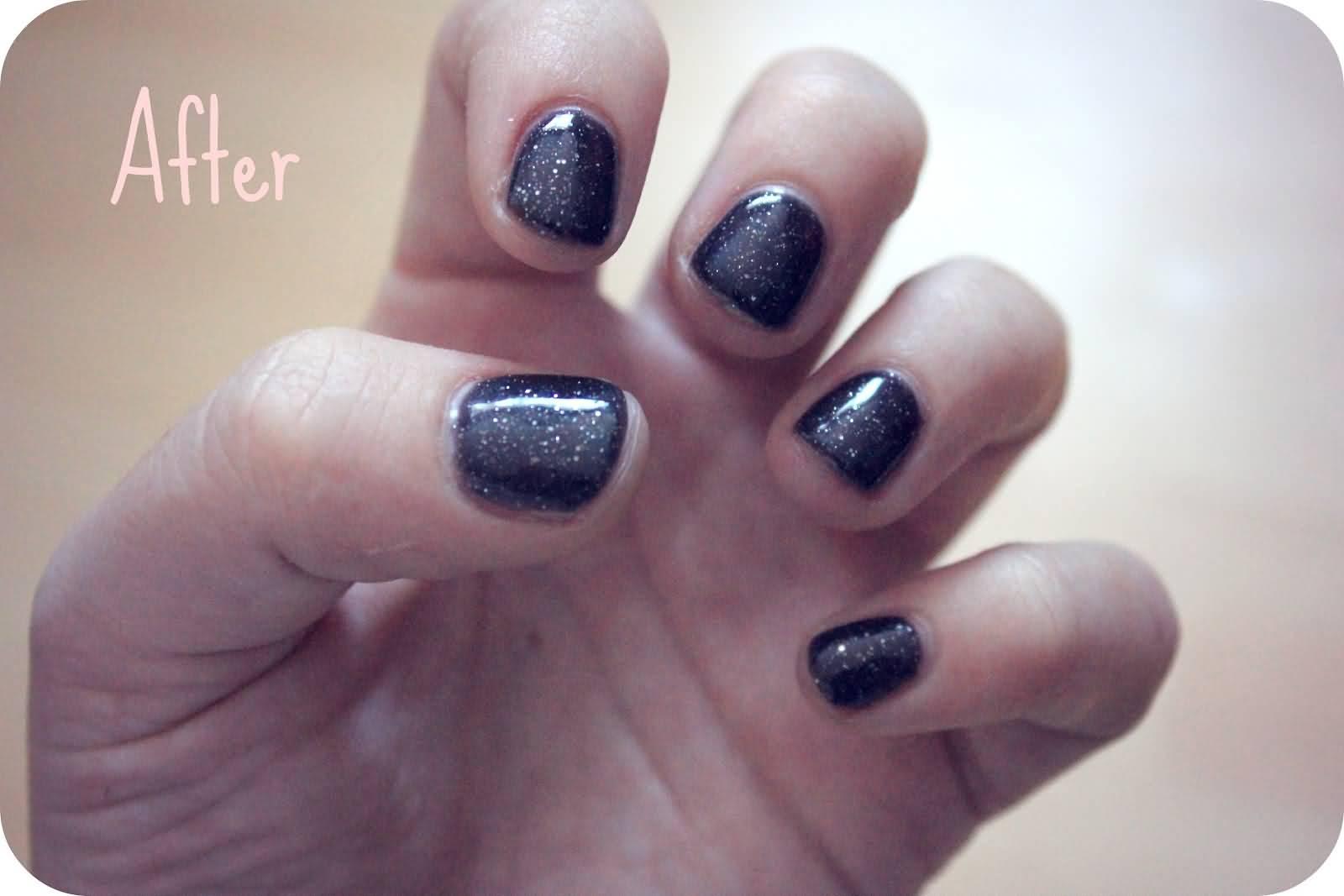 Sparkling Full Black Paint Design Acrylic Short Nail Design