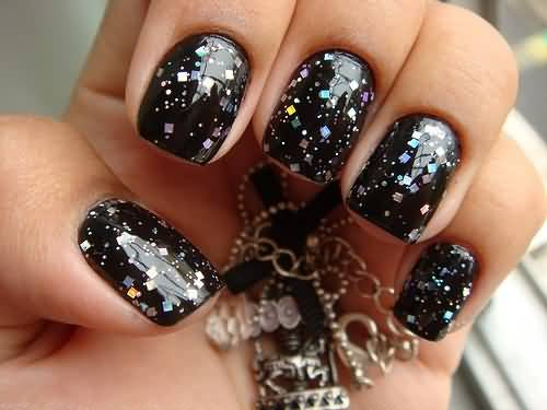 Sparkling Points With Black Acrylic Nail Art