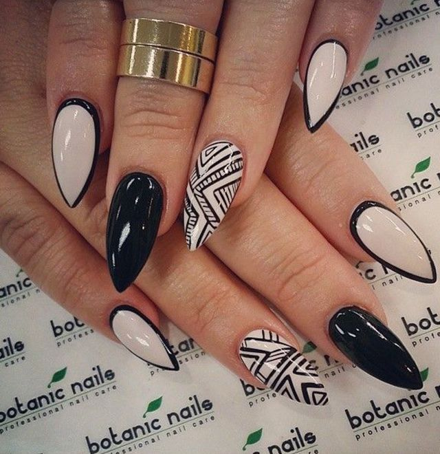 Sparkling White And Black Color Nail Paint Almond Shaped Acrylic Nail Art