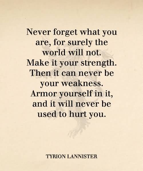 Strength Quotes Never Forget What You Are For Surely The World Will Not.